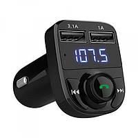 Автомобильный FM Модулятор трансмиттер для авто с Bluetooth MP3 AUX передатчик X8 черный