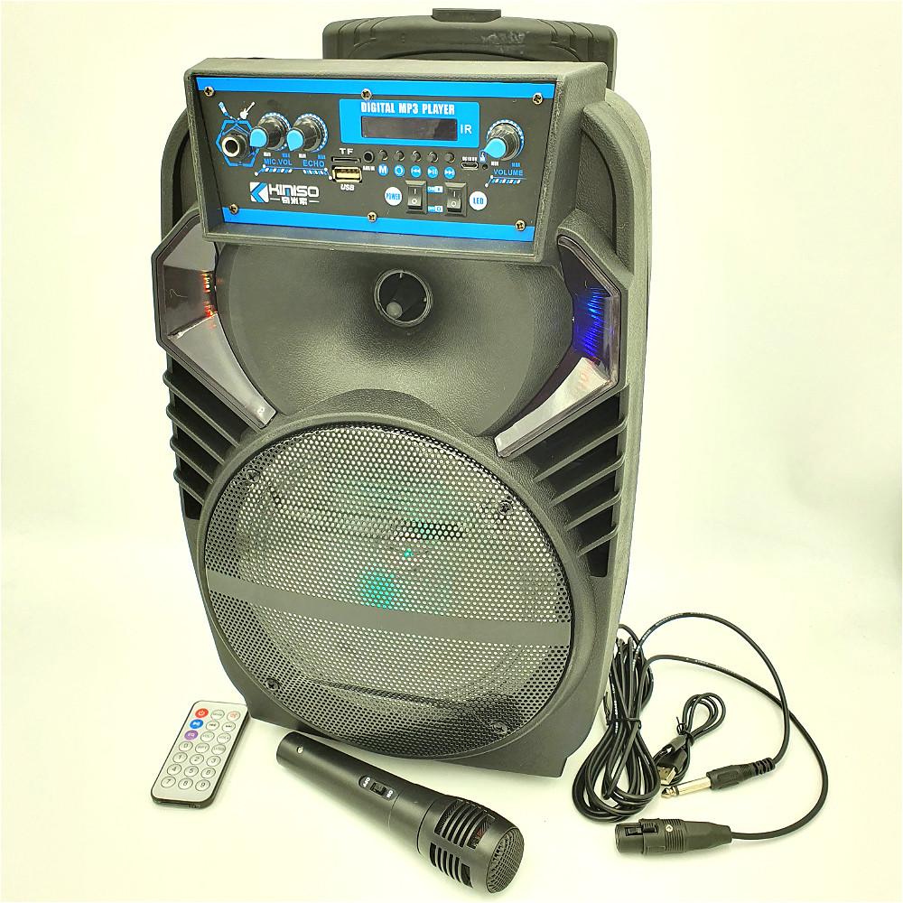 """Портативная колонка 8"""" аккумуляторная беспроводная Bluetooth караоке с проводным микрофоном USB FM 40 Вт"""