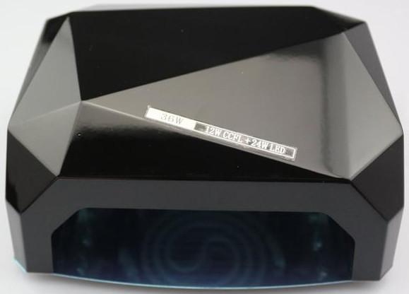 LED Лампа для ногтей маникюра Сушилка гибридная УФ LED+CCFL 36W UKC черная