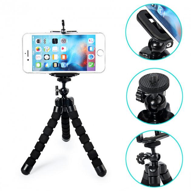 Штатив Осьминог трипод держатель для телефона GoPro экшн камеры фотоаппарата черный