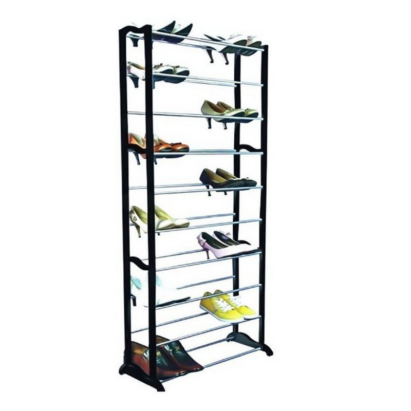 Полка для обуви органайзер 10 полок на 30 пар Amazing Shoe Rack черная