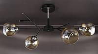 Люстра потолочная на 4 лампочки (34х35х75 см.) Черный, хром YR-088/4-bk-br