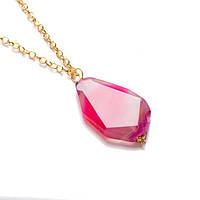 Ожерелье с розовым агатом на золотой цепочке