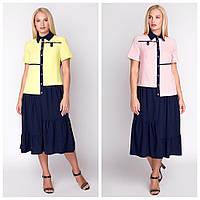Летнее платье свободного кроя женское «Элина» (Синий-пудровый, синий-желтый | 48, 50, 52, 54)