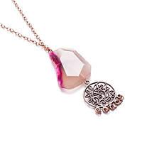 Ожерелье с розовым агатом на цепочке с кулоном металлическим