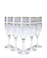 Набор бокалов для шампанского декорированных под золото 190 мл MISKET ArtCraft 31-146-083
