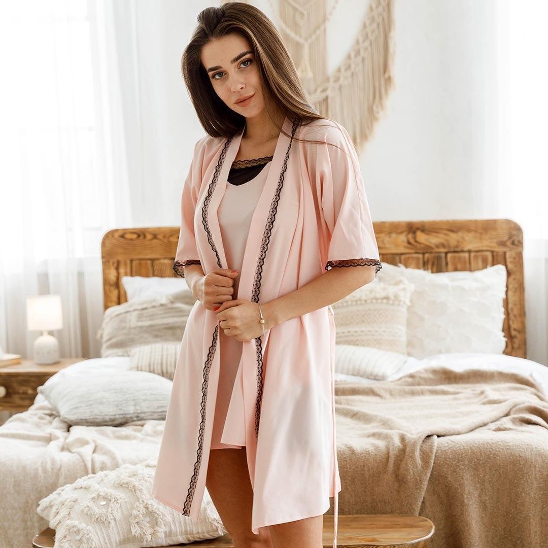 Халат жіночий з поясом мерехтливої кольору