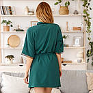 Халат женский с поясом зеленого цвета, фото 3