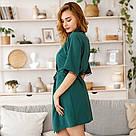 Халат женский с поясом зеленого цвета, фото 2