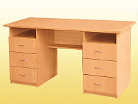 Стол письменный, с 2 тумбами по 3 ящика — 1500х600х750 мм