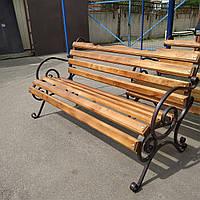 Скамейка кованая садовая парковая 2 м с вырезом на спинке
