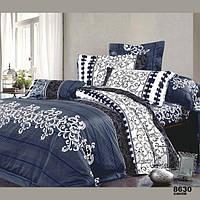 Постельное белье Viluta Ранфорс 8630 синий Евро Синий с белым 1005222, КОД: 1685045