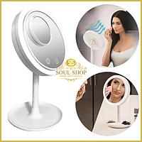 Настольное косметическое зеркало с led подсветкой и вентилятором для макияжа Beauty Breeze Mirror