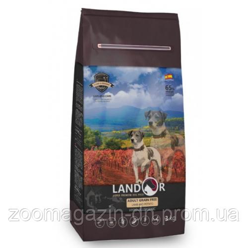LANDOR ADULT GRAIN FREE LAMB & POTATO для взрослых собак всех пород с ягненком и бататом, 15 кг
