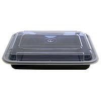 Емкость для СВЧ 710 мл., 50 шт/уп полипропиленовая прямоугольная с крышкой, черная SafePro