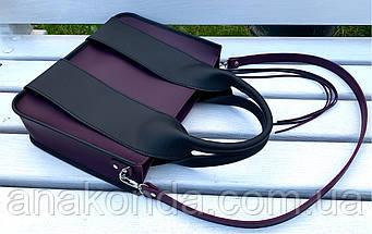 686 Натуральная кожа Сумка женская фиолетовая кожаная черная женская сумка из натуральной кожи баклажановая, фото 3