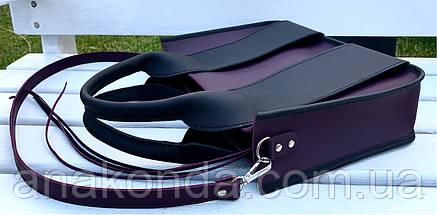 686 Натуральная кожа Сумка женская фиолетовая кожаная черная женская сумка из натуральной кожи баклажановая, фото 2