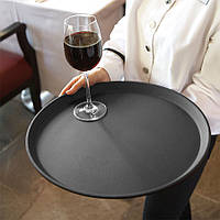 Поднос для официанта из стекловолокна нескользящий черный 40 см. круглый Winco