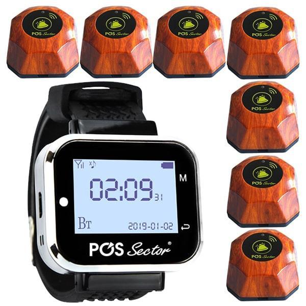 Система вызова официанта: пейджер-часы официанта и 7 кнопок