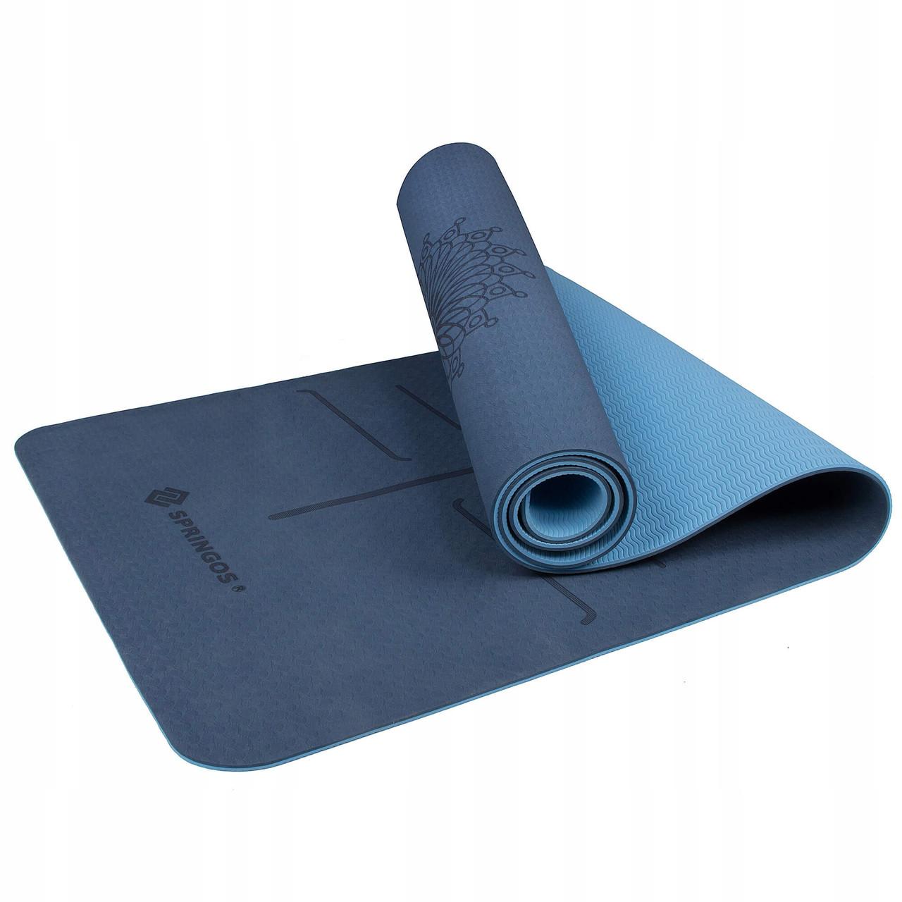 Коврик (мат) для йоги та фітнесу Springos TPE 6 мм YG0012 Blue/Sky Blue