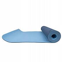 Коврик (мат) для йоги та фітнесу Springos TPE 6 мм YG0012 Blue/Sky Blue, фото 3
