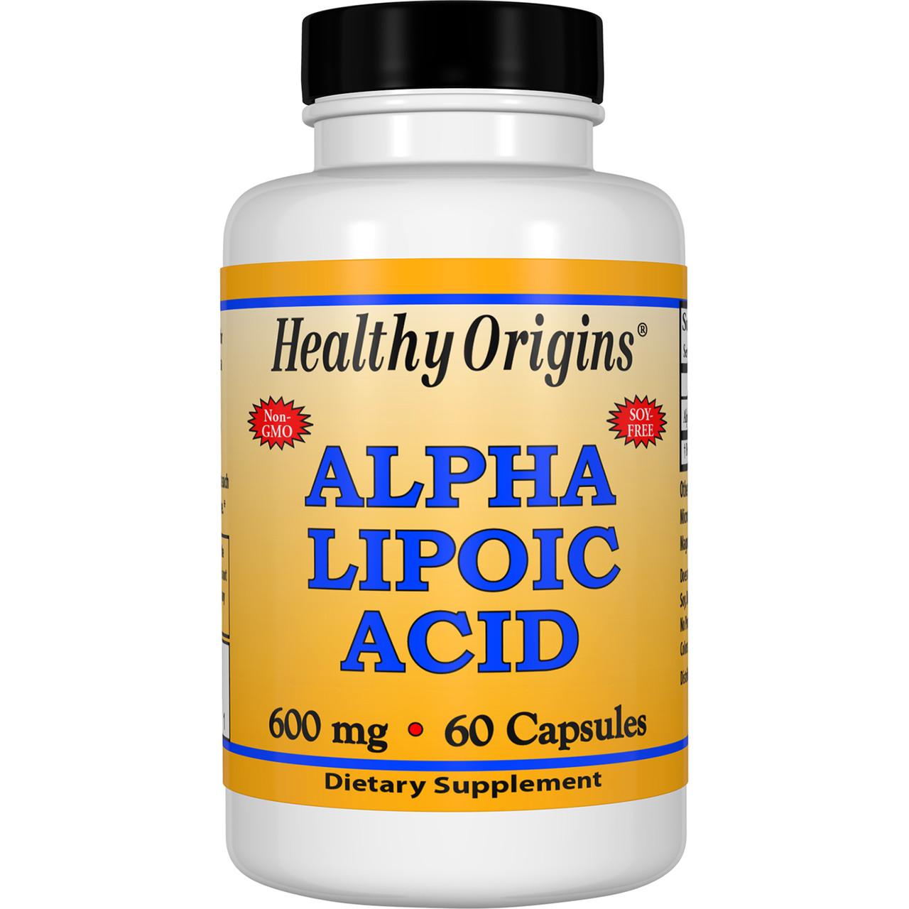 Альфа Липоевая Кислота 600мг, Healthy Origins, 60 капсул