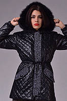 Женская куртка стёганная экокожа на синтепоне