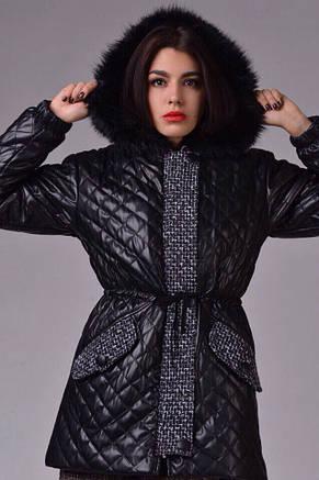 Женская куртка стёганная экокожа на синтепоне , фото 2