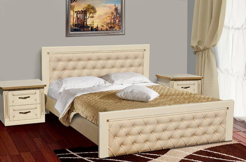 Двоспальне ліжко МІКС-Меблі Рів'єра 180*190 Слонова кістка (72198)