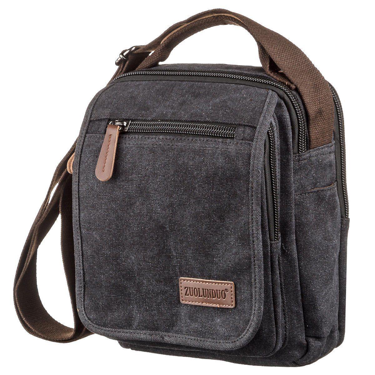 Универсальная текстильная мужская сумка на два отделения Vintage 20199 Черная