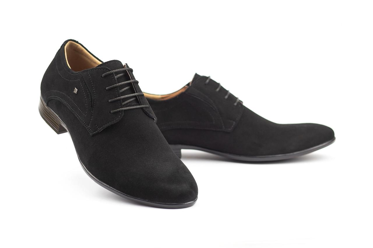 Мужские туфли замшевые весна/осень черные Stas 330-03-60