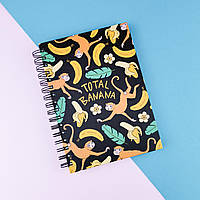 Скетчбук А5 130 страниц Total banana в твердой обложке, пружина