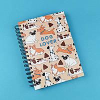 Скетчбук А5 130стр Dog lover в твердой обложке, пружина
