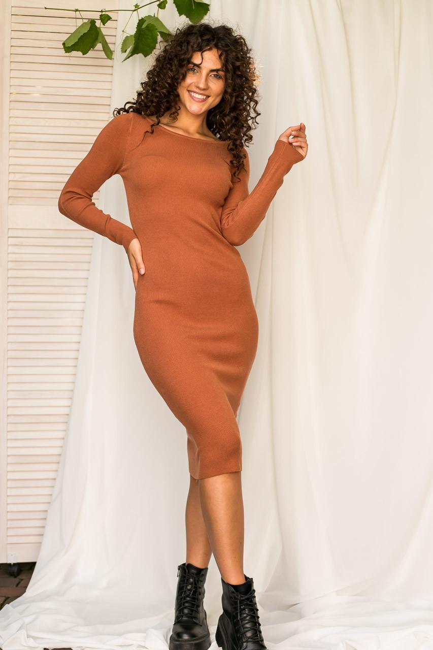Спокусливе облягаючу сукню M. B. 21 - коричневий колір, L/XL (є розміри)