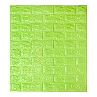 Декоративная 3D панель самоклейка под кирпич Зеленый (в упаковке 10 шт)