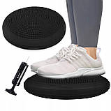 Балансировочная подушка (сенсомоторная) массажная Springos PRO FA0084 черная. Балансировочный диск, фото 4