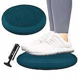 Балансировочная подушка (сенсомоторная) массажная Springos PRO FA0083 темно синяя. Диск для баланса, фото 10