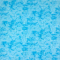 Самоклеющаяся декоративная 3D панель под кирпич голубой мрамор 700x770x7мм