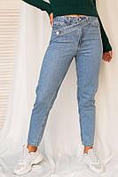 Джинси бойфренди з цікавим поясом LUREX - блакитний колір, 28р (є розміри), фото 1