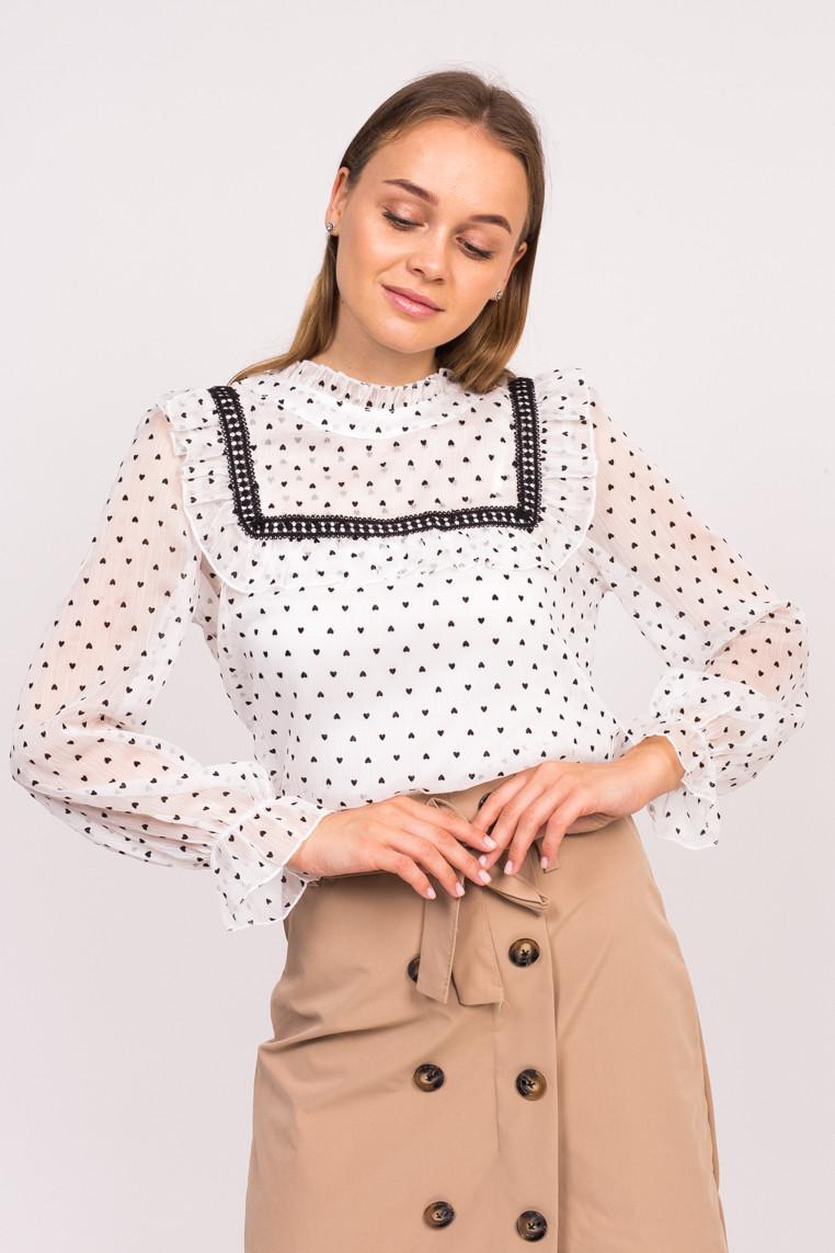 Блузка в сердечка с длинным рукавом LUREX - белый цвет, L (есть размеры)