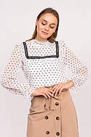 Блузка в сердечка с длинным рукавом LUREX - белый цвет, L (есть размеры), фото 1