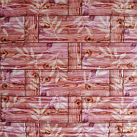 Самоклеющаяся декоративная 3D панель бамбуковая кладка оранжевая 700x770x7мм