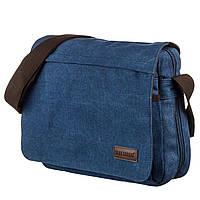 Текстильная сумка для ноутбука 13 дюймов через плечо Vintage 20189 Синяя, фото 1