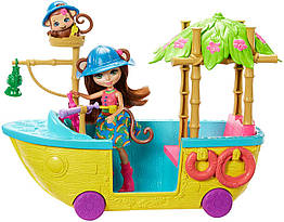 Кукла Енчантималс лодка обезьянки Мерит Enchantimals Junglewood Boat  Merit Monkey