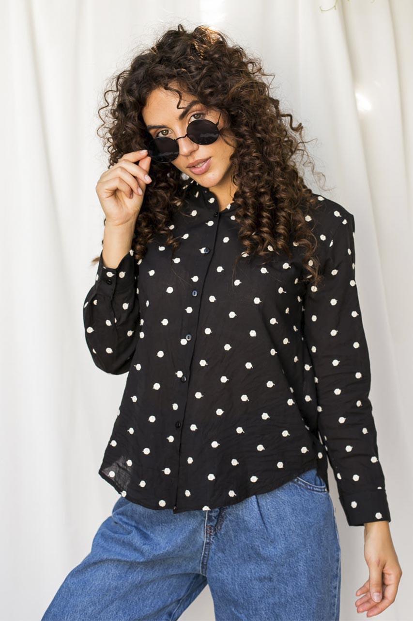 Оригинальная рубашка  с вышитыми горошками Crep - черный цвет, L (есть размеры)