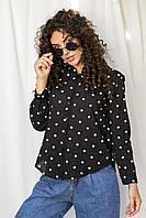 Оригинальная рубашка  с вышитыми горошками Crep - черный цвет, L (есть размеры), фото 1