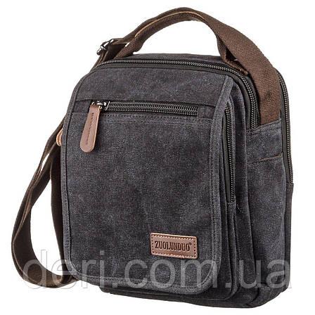 Универсальная текстильная мужская сумка на два отделения Vintage 20199 Черная, фото 2