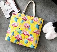 Женская сумка пляжная Flamingo yellow