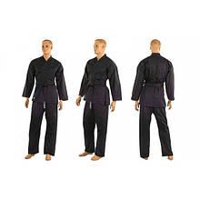 Кимоно для каратэ черное MATSA (хлопок, р-р 0-6 (130-190см)) KR-4