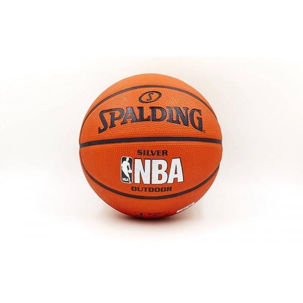 Мяч баскетбольный резиновый №5 SPALDING 2014 NBA SILVER Outdoor (резина, бутил, оранжевый)